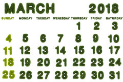 Calendar for March 2018 on white background. 3d rendering green grass Royalty Free Stock Image