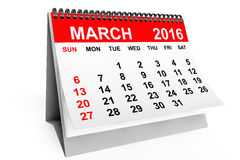 Calendar March 2016. 2016 year calendar. March calendar on a white background Royalty Free Stock Image
