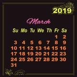Calendar March doodle decor 2019 on black background. Calendar March yellow doodle decor 2019 on black background vector illustration