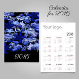 Calendar 2016 with marine lifeand space for logo Royalty Free Stock Photography