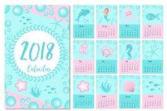 Calendar 2018 in marine style, sea life. Week starts from monday. Template for your design fairytale underwater world. With marine animals and a mermaid. Vector Stock Images