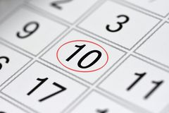 Calendar, mark day of the week, date in the red circle, note, scheduler, memo, save the date, 10. Calendar mark day of the week, date in the red circle, note Royalty Free Stock Image