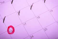 Calendar mark with a red circle Stock Image
