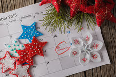 Calendar with marked date of christmas day Royalty Free Stock Image