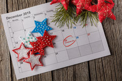 Calendar with marked date of christmas day Royalty Free Stock Photography