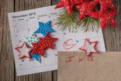 Calendar with marked date of christmas day Royalty Free Stock Photos