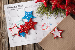 Calendar with marked date of christmas day Stock Images