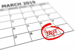 Calendar with marked date March 29, 2019 when the Brexit should be finished. Calendar with marked date March 29, 2019 when the Brexit United Kingdom exit from EU stock illustration