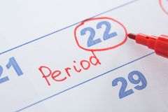 Calendar with marked menses date Royalty Free Stock Images