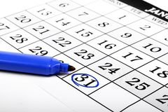Calendar and a marker Stock Image