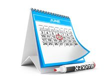 Calendar with marker. Isolated on white background Stock Photo