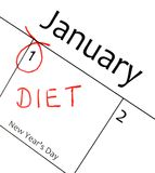 Calendar marking. The start of a new year resolution in red letter Stock Photos