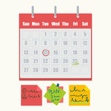 Calendar marks and sticky notes vector icons Royalty Free Stock Photography