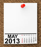 Calendar May 2013. On blank note paper with free space for your text Royalty Free Stock Photo