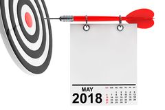 Calendar May 2018 with target. 3d Rendering. Calendar May 2018 on blank note paper with free space for your text with target. 3d Rendering Royalty Free Stock Photos