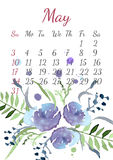 Calendar for May 2015 with a bouquet of flowers Stock Images