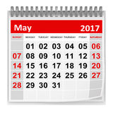 Calendar - May 2017. This is a 3d rendered computer generated image. Isolated on white stock illustration