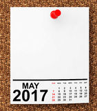Calendar May 2017. 3d Rendering. Calendar May 2017 on blank note paper with free space for your text.3d Rendering Stock Image
