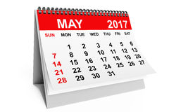 Calendar May 2017. 3d rendering. 2017 year calendar. May calendar on a white background. 3d rendering Royalty Free Stock Photos