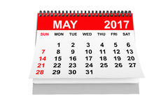 Calendar May 2017. 3d rendering. 2017 year calendar. May calendar on a white background. 3d rendering Stock Images