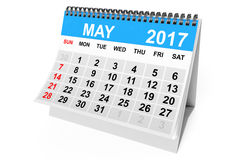 Calendar May 2017. 3d Rendering. 2017 year calendar. May calendar on a white background. 3d Rendering Royalty Free Stock Image