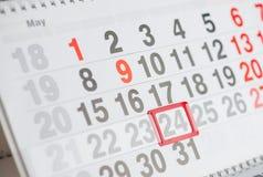 Calendar 24 May close-up, shallow dof stock photography