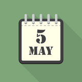 Calendar with 5 may in a flat design. Vector illustration Stock Photos