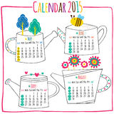 Calendar 2015-May, Jun, July, August. Vector file. It can be scaled to any sizes without losing resolution Stock Illustration