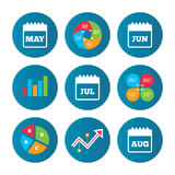 Calendar. May, June, July and August. Royalty Free Stock Photography