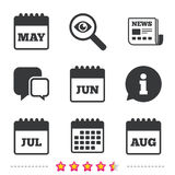 Calendar. May, June, July and August. Royalty Free Stock Images