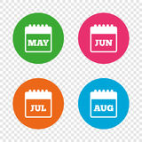 Calendar. May, June, July and August. Stock Images