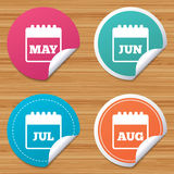 Calendar. May, June, July and August. Stock Photos