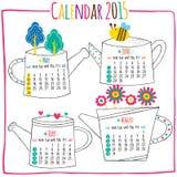 Calendar 2015-May, Juni, Juli, Augusti Royaltyfria Bilder