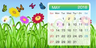 Calendar of MAY 2018 month theme  flower butterfly. A calendar of MAY 2018 month theme  flower butterfly Royalty Free Stock Photo