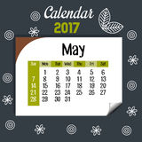 Calendar may 2017 template icon. Vector illustration design Royalty Free Stock Photography