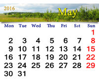 Calendar for May 2016 with thunder landscape Stock Photos