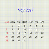 Calendar for May 2017. Vector illustration. Calendar for May 2017 on a paper in a cell. Week Starts Sunday. Vector Design Template Stock Image