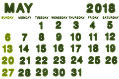 Calendar for May 2018 on white background. 3d rendering green grass Stock Photography