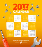 Calendar for mechanic or engineer master repairs simple vector template.  Stock Photo