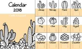 Calendar 2018 med den gulliga kaktuns och suckulenter i svart översikt a Stock Illustrationer