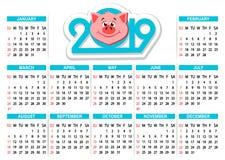 Calendar 2019 med huvudet för tecknad filmsvin` s på en vit bakgrund vektor illustrationer