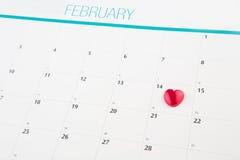 Calendar med Valentine Heart Shape II Royaltyfri Fotografi