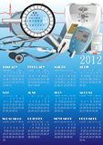 Calendar with medical equipment. Vector illustration Royalty Free Stock Photography