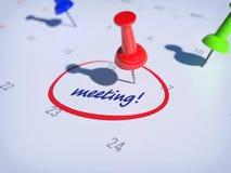 Calendar Meeting. Pin on calendar with words MEETING Stock Photography