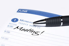 Calendar meeting reminder Royalty Free Stock Images