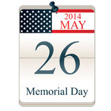 Calendar for Memorial Day Royalty Free Stock Photo