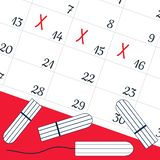 A calendar with the menstrual days marks and menstrual tampons. Vector illustration of blood period calendar. Menstruation period vector illustration