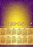 Calendar For 2015 with mesh. Violet-gold calendar for 2015 (with mesh, vector eps 10 royalty free illustration