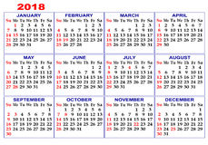 Calendar for 2018. Royalty Free Stock Image