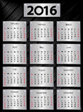 2016 calendar with metallic plates. Week starts with Sunday. Vector illustration vector illustration